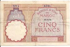 MOROCCO, 5 FRANCS, P#23Ab, 1941