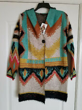 MaxSport Women's Long Hooded Open Cardigan Sweater Multi color Size S NWT $298