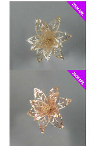 3 x Christmas Sequin & Sheer Lace Glitter Flower Rose or Gold Clip On Poinsettia