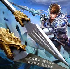 Steel Handle High manganese steel Spearhead Dragon Sword spear pike lance #036