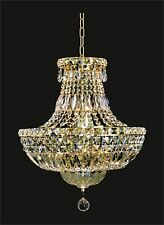 """Contemporary Crystal CHANDELIER (D16"""" x H20"""") 6-light GOLD Ceiling Fixture"""