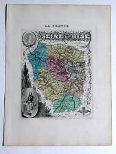SEINE et OISE carte géographique Vuillemin Atlas Migeon VERSAILLES LE PECQ RUEIL