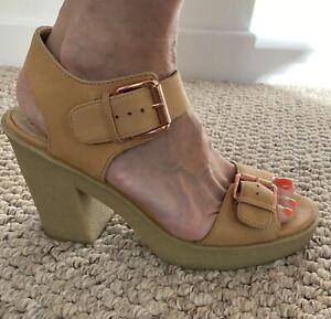 Bertie Cream Crepe Sandals - Size 5