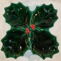 Vintage Christmas Lefton GREEN HOLLY Large Divided Serving Bowl Japan Label