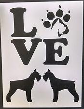 "Love Miniature Schnauzer Dog Paw Print 8.5"" x 11"" Custom Stencil Free Shipping"