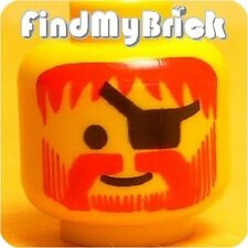 H050B Lego Pirate Minifigure Head Classic Beard Eyepatch & Red Hair Pattern NEW