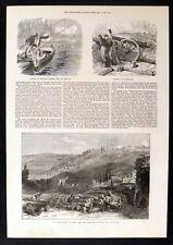French ASSEDIO DI PARIGI-Batteria a Courbevoie 1871 Vittoriano incisioni