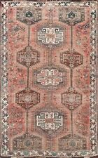Antique Geometric Tribal Abadeh Area Rug Hand-knotted Evenly Low Pile Carpet 5x8
