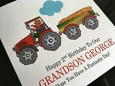 Personalised Handmade Farm Tractor Birthday Card Son, Grandson, Brother, Nephew