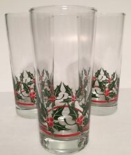 1~Libbey Holly Leaves Red Berries Christmas Beverage Glasses 16oz