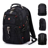 "Travel Gear Men 17"" 15"" Laptop Backpack Swiss Waterproof Rucksack School Bag"