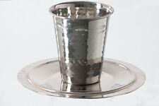 "Jewish, Shabbat Kiddush Cup + Saucer, Hammered Stainless Steel, 3"""