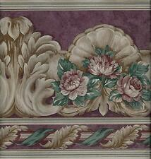 VICTORIAN ARCHITECTURAL ROSES LEAF SCROLL, BURGUNDY WALLPAPER BORDER