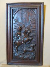 19TH  CENTURY OAK PANEL WITH A MAN ON A HORSE