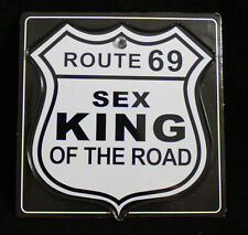"5.5"" Funny ""SEX KING ON THE ROAD"" Sign Novelty Emblem Car Window Metal Decor"