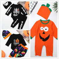 Infant Baby Boy Girl Halloween Romper Pants Hat Costume Outfits Toddlers Cosplay