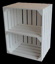 Shabby Chic Large White Wooden Crate Apple Box Storage Display Unit With Shelf