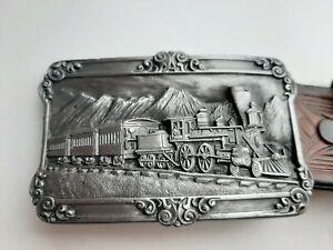 VINTAGE LOCOMOTIVE/TRAIN LEATHER BELT & BUCKLE - SISKIYOU BUCKLE Co. 1984