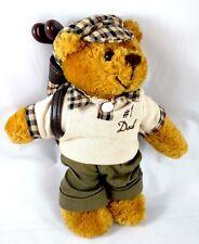 #1 DAD GOLFER Golf Bag Teddy Bear Plush Stuffed Beanbag Animal FATHER'S DAY ~EUC