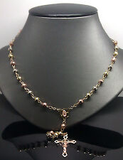 Chain, cross Pendant,trio-color Gold, Unisex,New,N Real 10k Gold Rosary Necklace