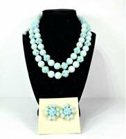1950's Vtg Blue Floral Necklace & Earrings Demi-Parure Japan Matched Set NIP