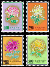 Taiwan Republic of China 1974 Chrysanthemums Flowers Set 4 Stamps 1901 1904 #596