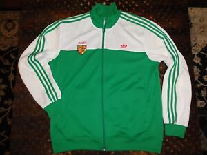 ADIDAS Wales Track Jacket Welsh Red Dragon White/Green Stripes Zip Men's XL RARE