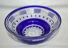 Vintage Cut-To-Clear Hand Carved Dish ~ Baccarat / St Louis Style ~ Cobalt Blue