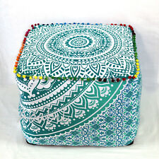 "18X18"" Square Ottoman Pouf Cover Indian Green Ombrey Mandala Indian Footstool"
