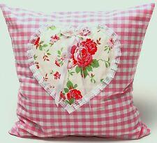 Landhaus Kissenhülle 35x35 Rosen Rosali Herz Vichy Karo rosa und Spitzen Shabby
