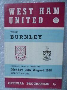 1968 WEST HAM UNITED v BURNLEY, 26th Aug (League Division One)