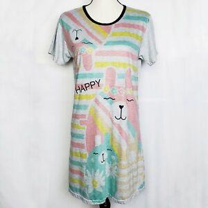 Happy Bunny Nightshirt Juniors S Sleep Shirt Pajamas Nightgown PJs Rabbits