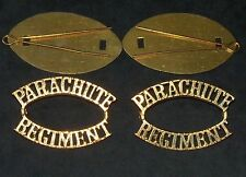 """Pair British Army:""""PARACHUTE REGIMENT BRASS SHOULDER TITLES""""(Complete with Pins)"""