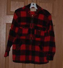 Men's Vintage Melton Wool Hunting Shirt /Jacket Red & Black Plaid Checks