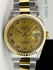 ROLEX Mens 18kt Gold & Stainless DateJust Champagne Roman Dial 16233 SANT BLANC