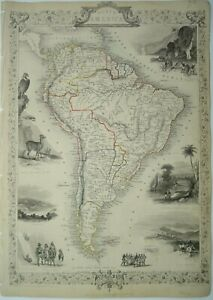 Antique map of South America by John Tallis 1851