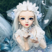 1/3 Ball Jointed Girl 60cm BJD Doll With Changeable Eyes Gradient Blue Wig Toys