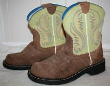 """Ariat Fatbaby Leather Women's Girls Brown Yellow 9"""" Cowboy Boots Size 7B"""