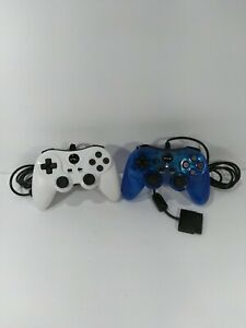 TTX Tech Analog Wired Controller For PlayStation 2/PlayStation 1 White & Blue...