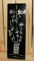 Vintage floral still life hand made wall hanging inlaid lacquer wood plaque