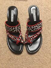 NIB Manolo Blahnik Susa Strappy Black/white Calf Hair Slide Sandals 6.5B