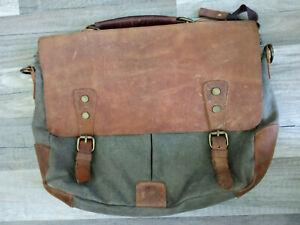 Schultertasche Lehrertasche Segeltuch Leder vintage