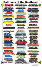 """Railroads of the Southeast 11""""x17"""" Railroad Poster by Andy Fletcher signed"""