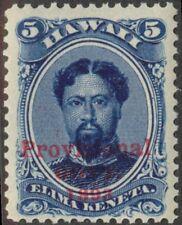 Hawaii - 1893 - 5 Cents Deep Indigo Kamehameha #58 w/ Overprint Variety Mint LH