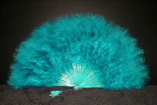 "MARABOU FEATHER FAN - TEAL Feathers 12"" x 20"" Sexy/Fans/Burlesque/Bridal"