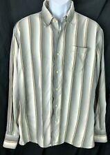 Tommy Bahama Silk Oxford Shirt Xl Gray/Ivory Stripe Button Front Long Sleeve