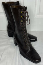 Franco Sarto Dark Brown Leather Lace Up Mid Calf Square Toed Boots Size 10
