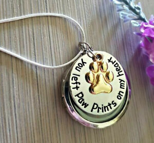 Pet Loss Necklace - Dog memorial locket necklace paw print sympathy gift urn