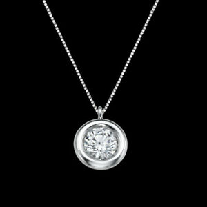 1/3 CT Classic Solitaire Diamond Pendant Round G/SI1 14K White Gold