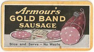 Armour's Gold Band Sausage Advertising Trade Card 1921 Calendar